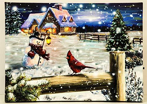 Oak Street Cardinal with Snowman LED Art 8
