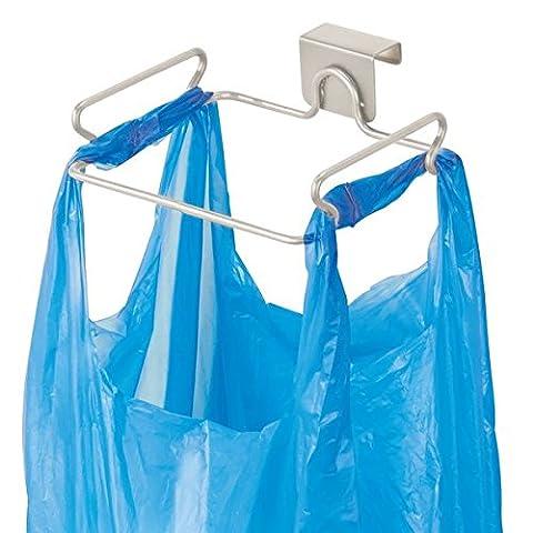 mDesign Over the Cabinet Plastic Bag Holder for Kitchen - Satin