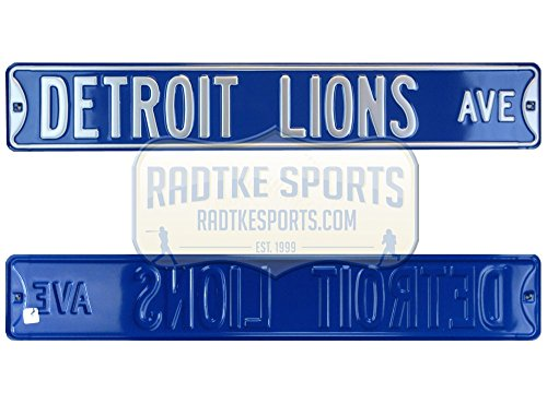 Detroit Lions Avenue Officially Licensed Authentic Steel 36x6 Blue & Silver NFL Street Sign