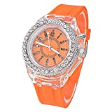 MJartoria Orange Shine Silicon Band Rhinestone Dial Quartz Analog Wrist Watch 25CM