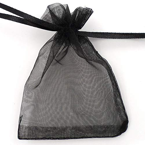 ATCG 50pcs 8x12 Inches Large Drawstring Organza Bags Decoration Festival Wedding Party Favor Gift Candy Toys Makeup Pouches (Black)