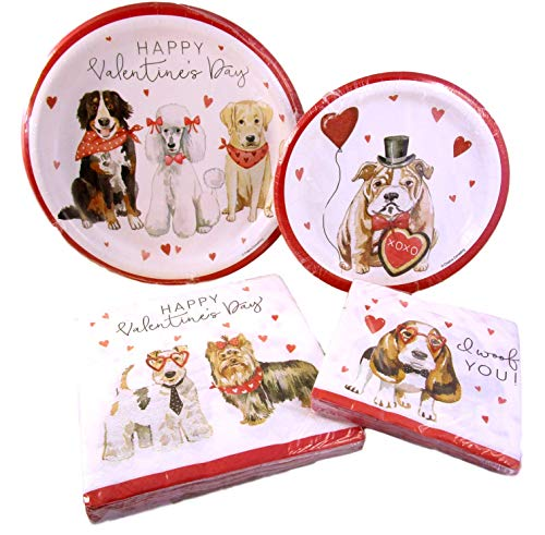 Valentine's Day Party Pack - I Woof You Dogs Paper Plates and Napkins - Golden, Poodle, Basset, BullDog, Terrier, Yorkie