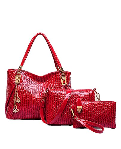 2016 Modern And Noble Pu Bag Tote Top Handle Bag Satchels Three Pieces In One Set (red)