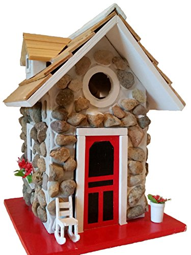 Mountain Stone Guest Cottage Birdhouse is an amazingly quaint birdhouse that features a Sturdy Stone Façade and Real Pine Wood Shingled Roof Quaint Cottage