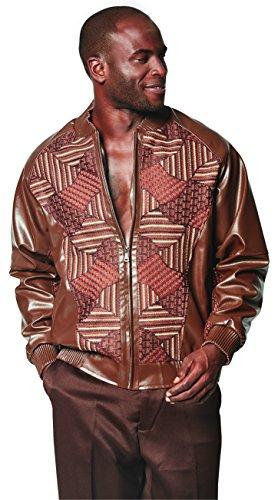 SAFIRE SILK INC. SILVERSILK Men's PU Leather Baseball Jacket With Knit Trim (XXL, Mocha) - Exclusive Leather Jacket