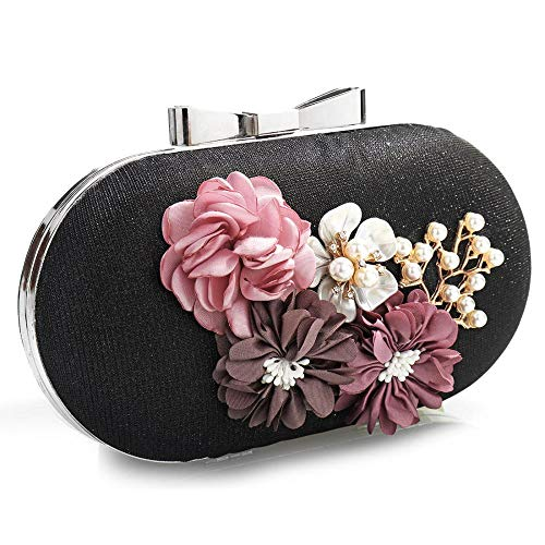 Fashion Purse Floral Designer Bags Rhinestone Clutch Womens Black Beaded Wedding Evening Glitter EROUGE Tzw0RPqn