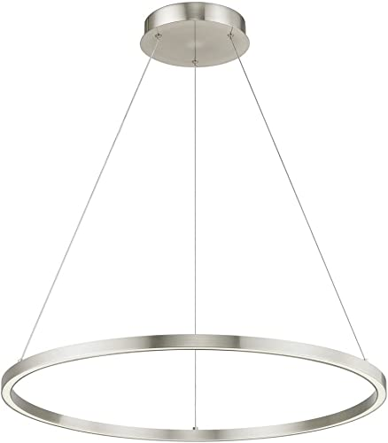 Modern 32-Inch LED Ring Pendant Light Satin Nickel Finish