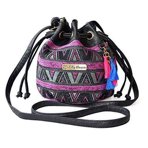 Ethnic Shoulder Bag Backpack Satchel Mini Bucket Drawstring Canvas Purple XwqYrHxXR