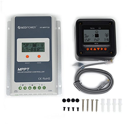 ACOPOWER 20A MPPT Solar Charge Controller 100V Input HY-MPPT20A + MT50 ...