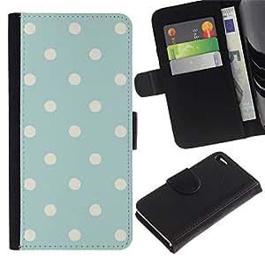 All Phone Most Case / Oferta Especial Cáscara Funda de cuero Monedero Cubierta de proteccion Caso / Wallet Case for Apple Iphone 4 / 4S // Modelo de lunar azul bebé rústica de la vendimia