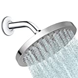 Round 8 inch Rainfall Shower Head - Fixed Wall or Ceiling Mounted Chrome Rain Showerhead, with Adjustable Stainless Steel Swivel Ball, Adding a Luxury Spa Waterfall Feel to Your Bathroom.