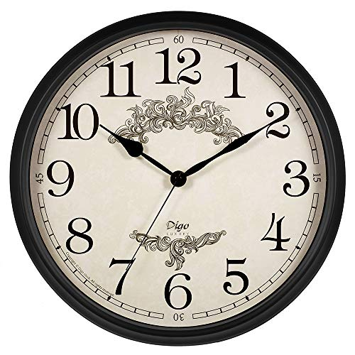 OMEYA Non Ticking Silent Wall Clock,15 Inch Quarzt Battery Operate Decorative Clock Retro European Style Vintage for Living Room, Bedroom, Kitchen ()