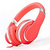 Reetec Hi-Fi Stereo Foldable Lightweight Earphones 3.5mm Headsets for Kids Wired Headphones with Microphone for Cell Phones PC iPhone Laptop Tablet Mp4 Mp3 (Red)