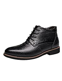Men Winter Warm Fur Lined Leather Snow Boot Alligator Business Dress Formal Shoe