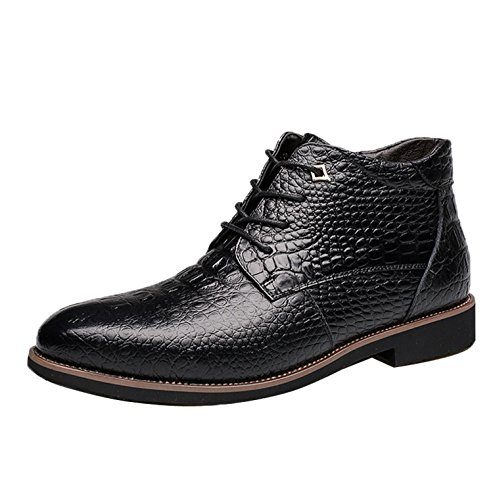 Gaorui Men Winter Warm Fur Lined Leather Snow Boot Alligator Business Dress Formal Shoe by Gaorui