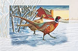 Pumpernickel Press Boxed Christmas Cards, Pheasant Pair