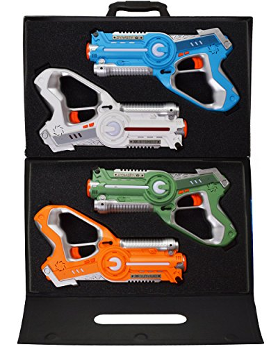Dynasty Toys Laser Tag Set and Carrying Case for Kids Multiplayer 4 (Laser Battle Set)