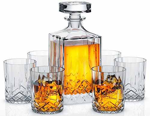 Crystal Lead Free Set (Miko Crystal Decanter Set With 6 Double Old Fashioned Glasses- Lead Free Crystal (Nairn))