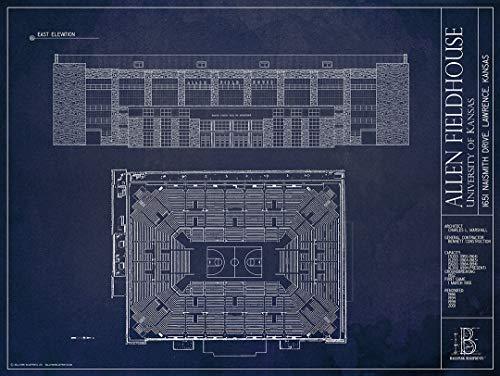 (Allen Fieldhouse Blueprint-Style Print)