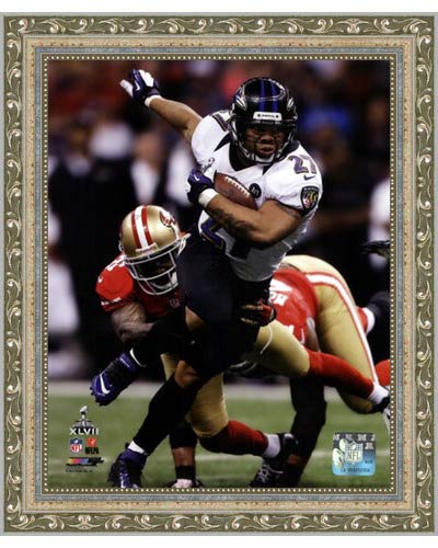 (Poster Palooza Framed Ray Rice Super Bowl XLVII Action- 8x10 Inches - Art Print (Ornate Silver Frame))
