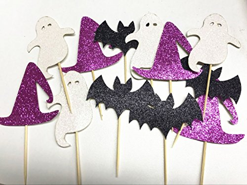 Sharlity 12 Pcs Halloween Cupcake Topper Ghost Decor for Kids Birthday Party Themed (Twelve Cupcakes Halloween)