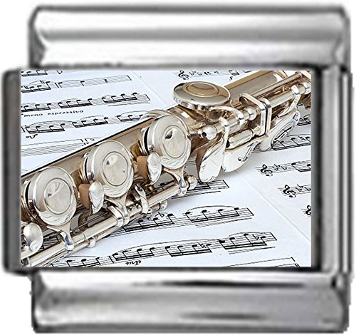 MUSIC FLUTE SHEET OF MUSIC Photo Italian Charm 9mm Link - 1 x MD001 Single Bracelet Link (Italian Charm Flute)