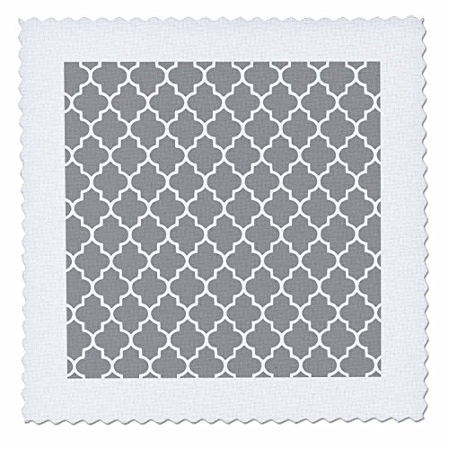 3dRose qs_120259_5 Dark Gray Quatrefoil Pattern Grey Moroccan Tiles Modern Stylish Geometric Clover Lattice Quilt Square, 14 by (Gray Quatrefoil Clover)