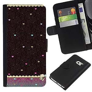 For Samsung Galaxy S6 EDGE Case , Vintage Teal Brown Wallpaper Heart - la tarjeta de Crédito Slots PU Funda de cuero Monedero caso cubierta de piel