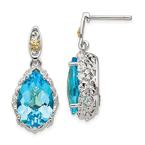 925 Sterling Silver 14k Blue Topaz Post Stud Drop Dangle Chandelier Earrings Fine Jewelry Gifts For Women For Her