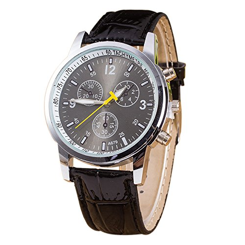 Gycinda Switzerland Mens Business Casual PU Strap Wrist Watch (Black)