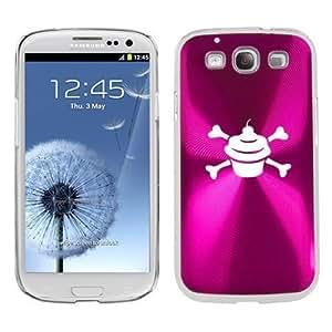 Hot Pink Samsung Galaxy S III S3 Aluminum Plated Hard Back Case Cover K311 Cupcake Crossbones