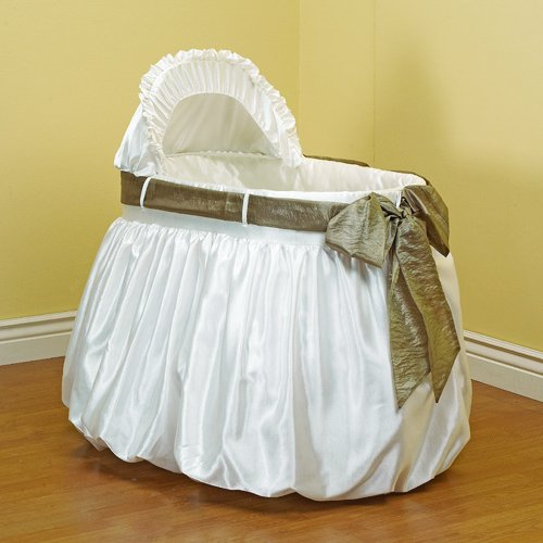 Baby Doll Bedding Shantung Bubble and Crushed Belt Bassinet Bedding, Sage