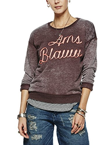 Scotch & Soda Maison Basic Burn Out Theme Sweat In Soft Quality, Sudadera para Mujer Braun (Palm Brown Mele 3F)