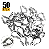 A+Selected 50 PCS M4 304 Stainless Steel Thimble for 1/8' - 5/32' Diameter Wire Rope Cable Thimbles Rigging