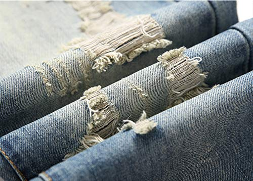 Media De Derecho 38 Sfsf Algodon Jeans Hombres Pantalones Bomba Micro Botón Moda Retro Hombres Rotos jóvenes Altura Los 40 Ajustado qfxzp40