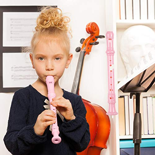 Descant Soprano Recorder Music Recorder Instrument For Kids Flute Kids Recorder With Cleaning Rod + Case Bag(pink)