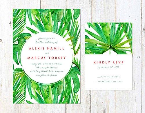 Tropical Wedding Invitation, Destination Wedding Invitation, Palm Trees Wedding Invitation by Alexa Nelson Prints