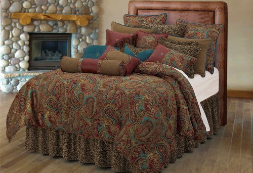 San Angelo w/ Leopard Bedskirt 4PC Bedding Set King