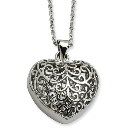 Filigree Puffed Heart (Stainless Steel Filigree Puffed Heart Necklace - 22 Inch)