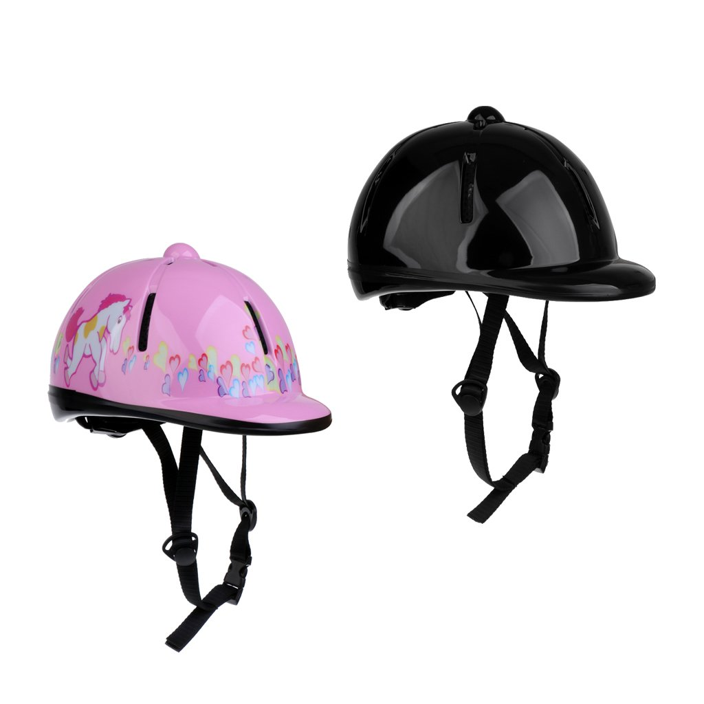 Sharplace Set de 2pcs Casque É quitation pour Enfant Coque Exté rieure en PVC É quipement De Protection Cavalier - Rose + Noir 48-54cm