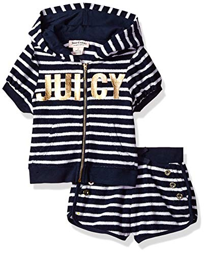 Juicy Couture Girls' Big 2 Pieces Hoody Shorts Set, Navy/White 12 from Juicy Couture