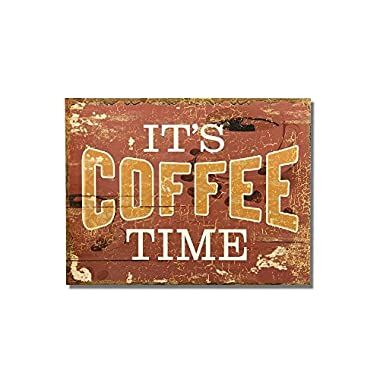Adeco Decorative Wood Wall Hanging Sign Plaque  It's Coffee Time  Brown Gold White Home Decor