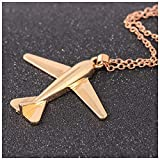 MIXIA Alloy Plane for Women Girls Boy Party Jewelry Airplane Aircraft Pendant Short Chain Collar Necklace (Gold)