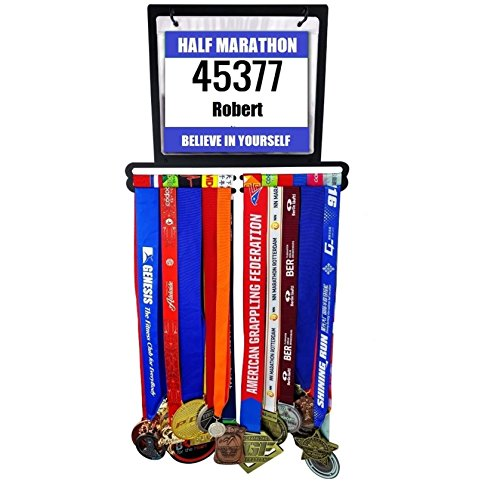 Medal Display Hanger | 30 Vinyl Bib Pouches | Holds 32 Running, Wrestling, Swimming or Athletic Medals