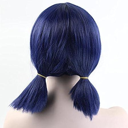 Niños niñas Cosplay Peluca Doble Coleta mechones corto recta azul oscuro peluca de Halloween fiesta de Navidad: Amazon.es: Belleza