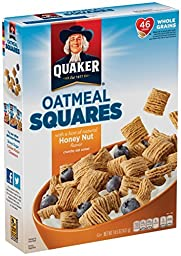 Quaker Honey Nut Oatmeal Squares Cereal, 14.5 oz Pack of 4