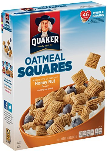 - Quaker Honey Nut Oatmeal Squares Cereal, 14.5 oz Pack of 4