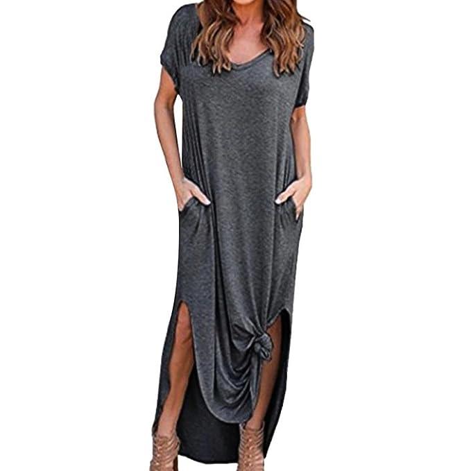 Overdose Vestido Moda para Mujer Casual Vacaciones sin Mangas Colgando Cuello Beach Beach Mini Vestido: Amazon.es: Ropa y accesorios