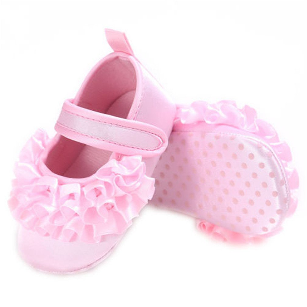 Baby Girls Newborn Infant Baby Toddler Soft Non-Slip Flower Crib Shoes Pink 13-18 Months