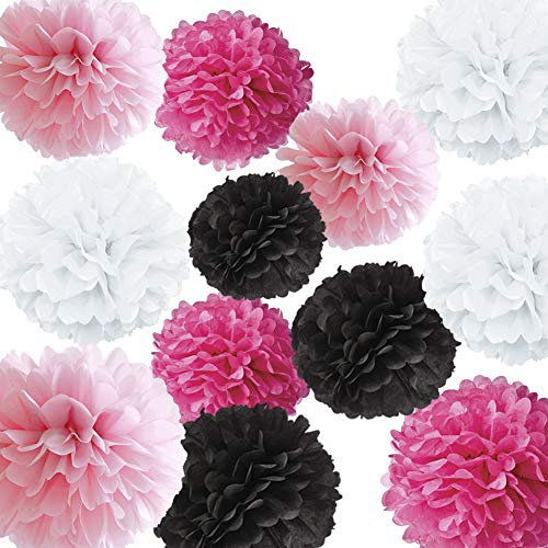"HappyField 12PCS 8"" 10"" 12"" Fuchsia Pink White Black Tissue Paper Pom Poms Flower Balls for Hot Pink Sweet 16 Birthday Quinceanera 15 Birthday Party Supplies Bachelorette Decorations Bridal Shower"
